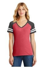 Picture of District Made® Ladies Game V-Neck Tee. DM476.
