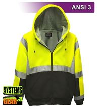 Picture of VEA-603-ST-LB High Viz 16oz Thermal Lined Full Zip Hoodie
